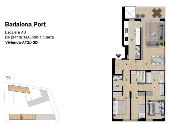plano de piso de obra nueva en badalona