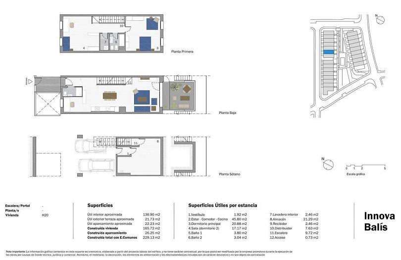 plano de casa unifamiliar adosada