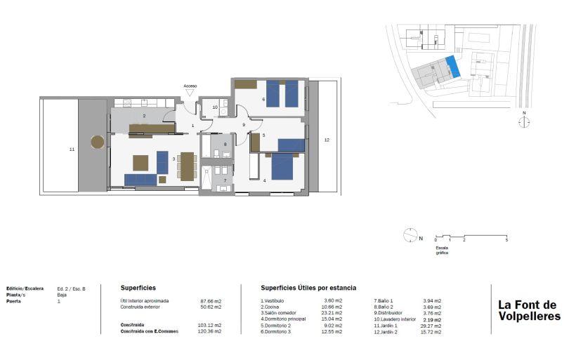 plano de vivienda de obra nueva con piscina comunitaria en sant cugat