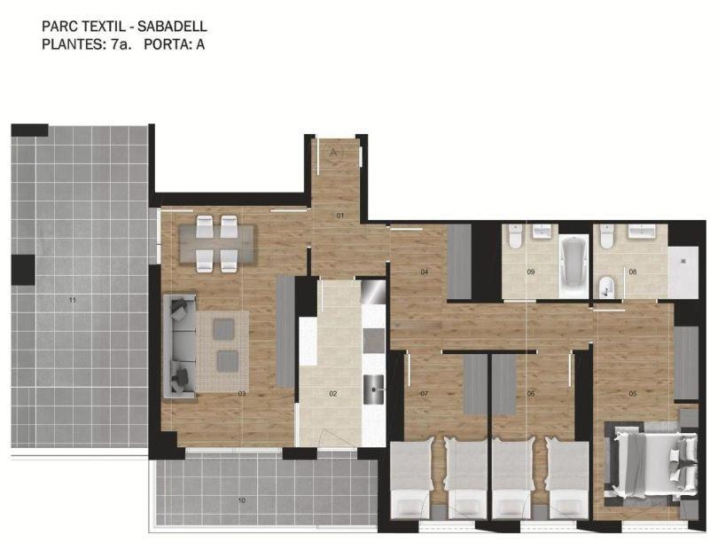 plano de vivienda de obra nueva en sabadell