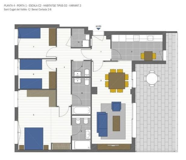 plano de piso de obra nueva en sant cugat del valles