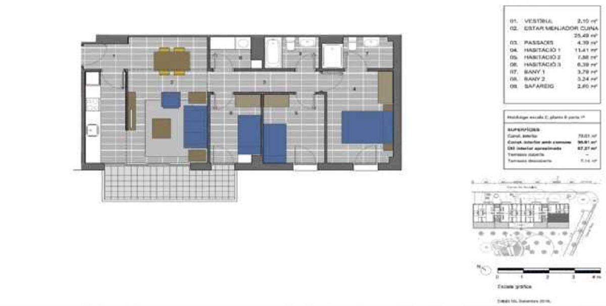 plano de vivienda de proteccion oficial en la marina del prat vermell