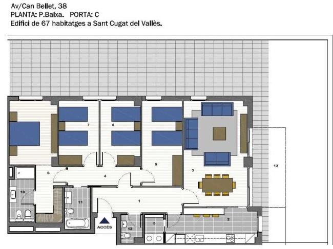 plano de piso de primera mano eficiente energéticamente en sant cugat