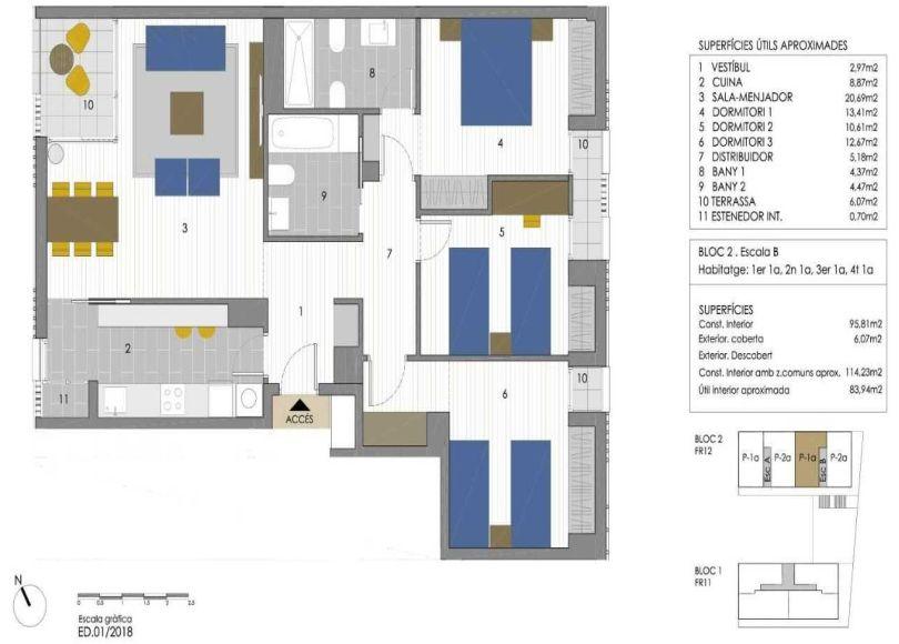 plano de piso de obra nueva en sant andreu