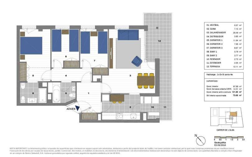 plano de piso de obra nueva en residencial alba del valles
