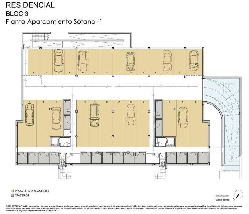 plano de plazas de aparcamiento en residencial miralpeix