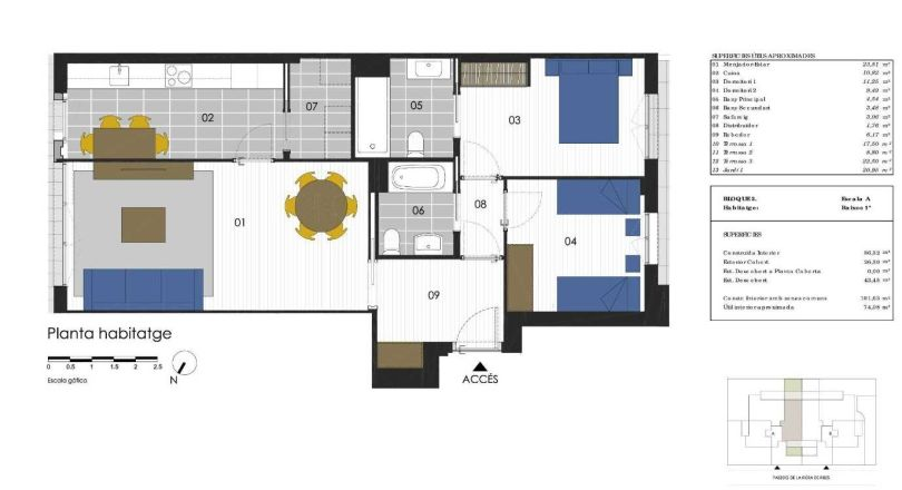 plano de piso de obra nueva en residencial miralpeix