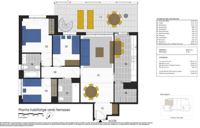 plano de piso de obra nueva con piscina comunitaria en sitges