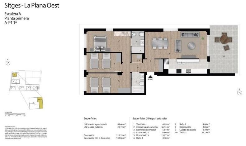 plano de piso de obra nueva en sitges