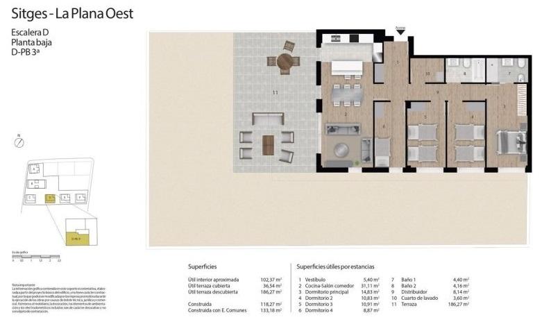 plano de vivienda de primera mano en sitges