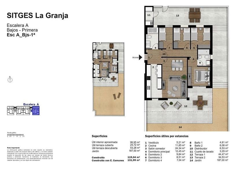 plano de vivienda de obra nueva en la promocion lanius roig de sitges
