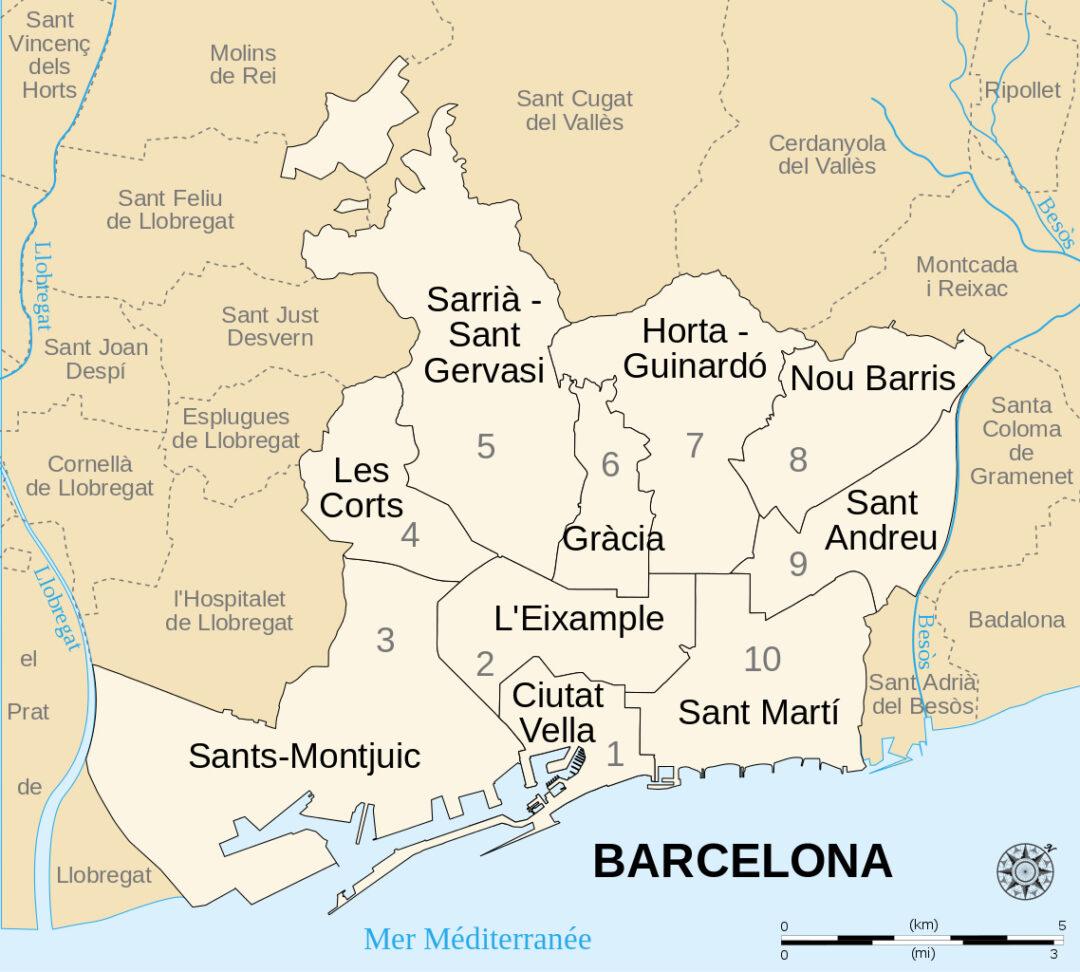 Mapa Distritos Barcelona